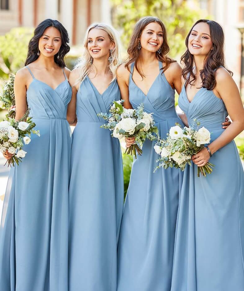 Models wearing light blue bridesmaids dresses